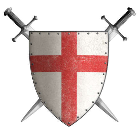 Metal classical shield with red cross and swords 3d illustration Standard-Bild