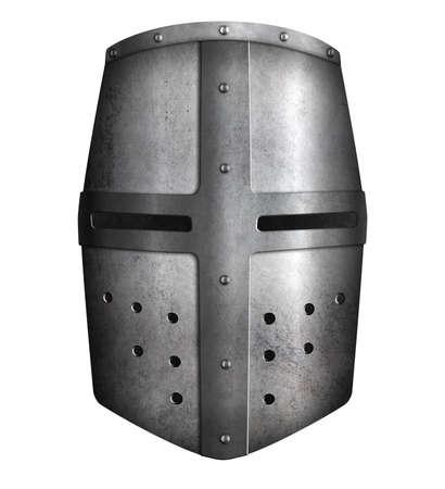 Crusader knights metal helmet isolated 3d illustration Standard-Bild