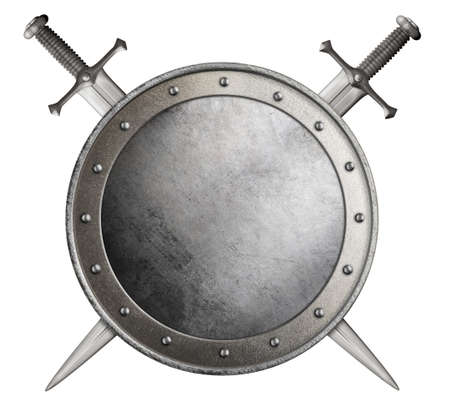 medieval round shield and crossed swords isolated 3d illustration