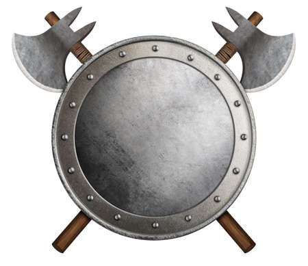 medieval round shield and crossed axes isolated 3d illustration Standard-Bild