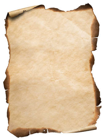 old vertical paper or map with burnt and curved edges isolated
