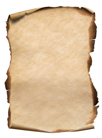 old vertical paper or map with burnt curved edges isolated