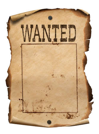 Wild west wanted poster isolated on white