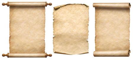 old paper vertical scrolls set isolated Standard-Bild