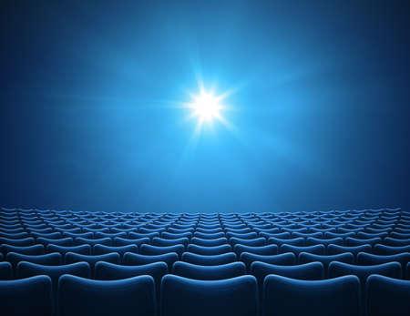 Empty blue cinema auditorium with bright ray 3d illustration