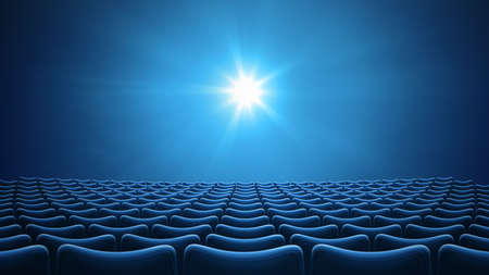 Blue cinema theater 16:9 format 3d illustration