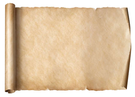 Old scroll in horizontal position isolated