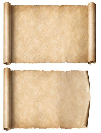 old paper horizontal scrolls set isolated Archivio Fotografico