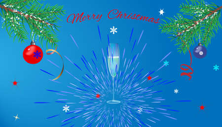 greeting Christmas card on blue background Vector