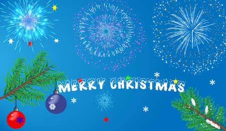postcard Christmas with Christmas decorations and a congratulatory text Vector