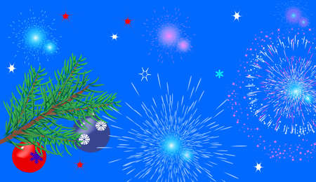 Christmas background with fir branches, toys and fireworks Vector