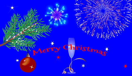Christmas blue background with glasses, fireworks and a Christmas tree. With the greeting text Vector