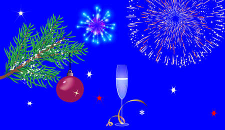 Christmas blue background with glasses, fireworks and a Christmas tree. no text Vector