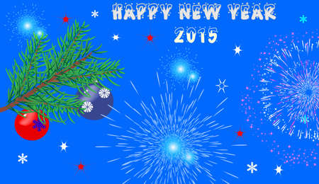 Christmas background with fir branches, fireworks and text Vector