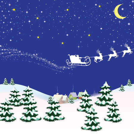 Christmas card with a blue background on the sleigh of Santa Claus with falling snow