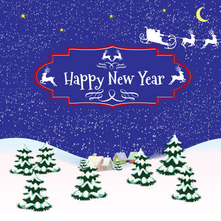 st  nick: Christmas card with a blue background on the sleigh of Santa Claus with falling snow and the text in vintage frame
