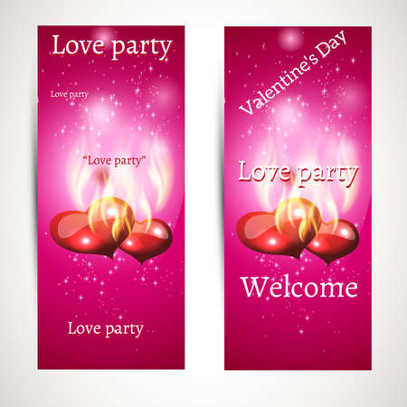 banner ads on a pink background with text and glowing hearts. vector Vector