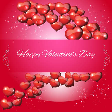 Greeting Card Valentines Day on a red background with hearts, envelope. vector Vector