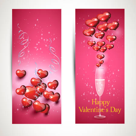 set of vertical and horizontal Flyers with glasses and a heart with a greeting. Vector. set 3 Vector