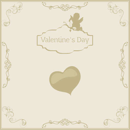 greeting card for Valentines Day in vintage style with cupids and greeting text Vector Vector