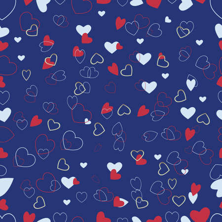 blue background with a variety of hearts. Congratulation to the holiday Vector Vector