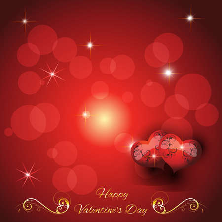 two hearts: festive greeting card with two hearts valentines day with greeting text Vector Illustration