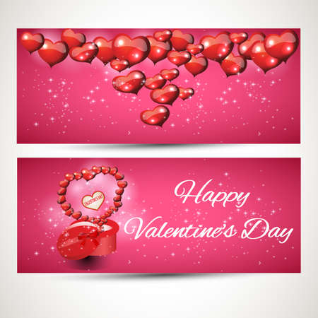 departing: set of vertical and horizontal Flyers with gift box and hearts departing from it. Vector. set 2