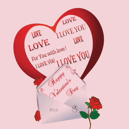 departing: Greeting card with envelope and departing from the envelope heart