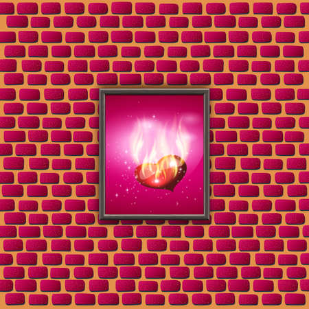 red love heart with flames: vector illustration picture with glowing hearts on a brick wall. Congratulations on Valentines Day