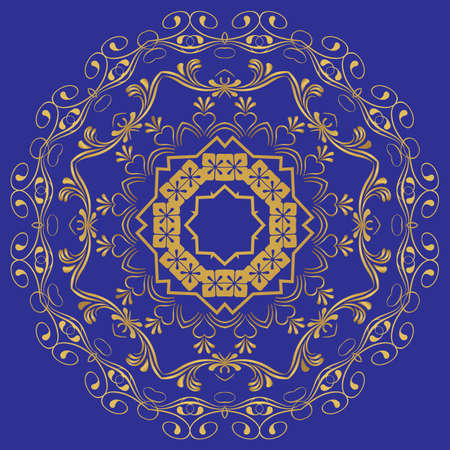 the abstract design of a circular pattern in Oriental style.  Vector