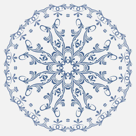 retrospective: the circular blue pattern in the national Russian style. vector illustration