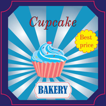 bakery price: banner for the Bakery Cafe with cake and a price tag. Vector