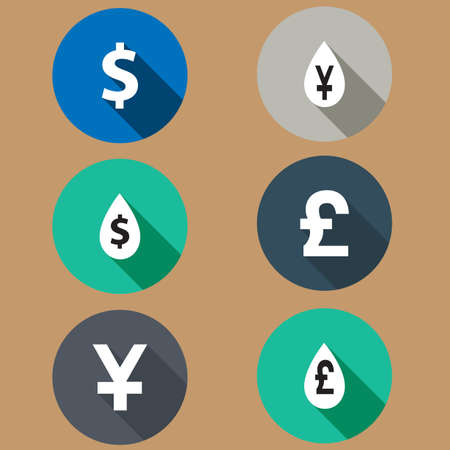 rates: set of flat icons exchange rates. Long shadows. vector Illustration