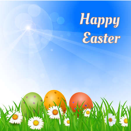 congratulatory: Easter background with eggs in the grass and congratulatory inscription