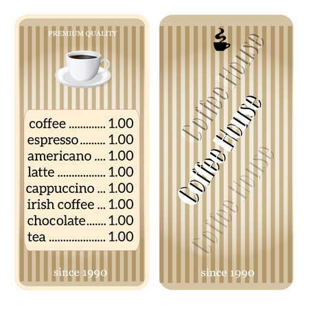 menu for coffee shop, restaurant. Template prices Vector