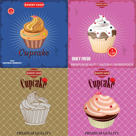 inscriptions: vector set for a menu with cupcakes and inscriptions