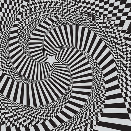 optical illusion zoom black and white background Vector