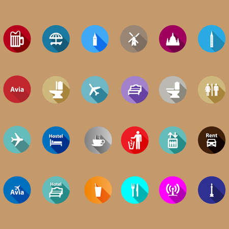 travel mug: travel icons set in a flat style. With long shadows