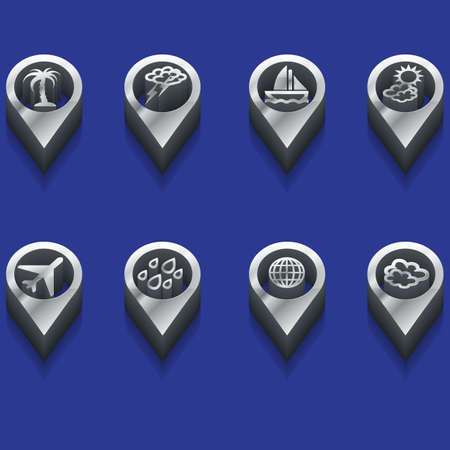 set of isometric weather and travel symbols Vector