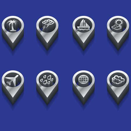 deploy: set of isometric weather and travel symbols