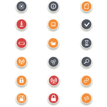 computer icons: Set of multicolored round of computer icons