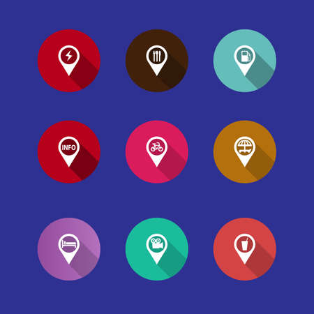 fork in path: set of navigation icons in a flat design