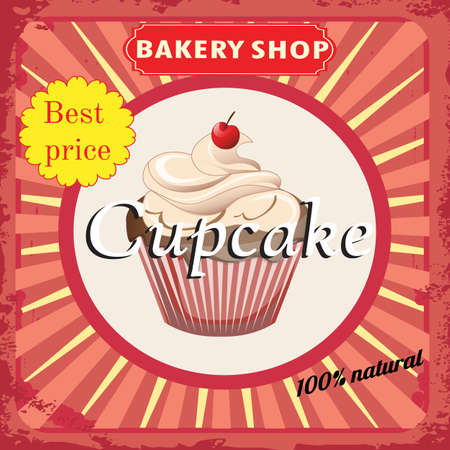 beauty birthday: Cupcake bakery shop poster. Vintage Retro style
