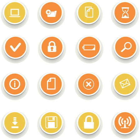 Set of multicolored round of computer icons