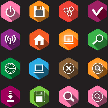 computer icons: set of computer icons in a flat design
