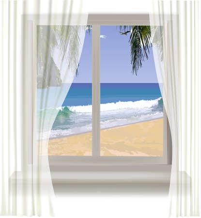 beach window: view of tropical beach through the window. Vector