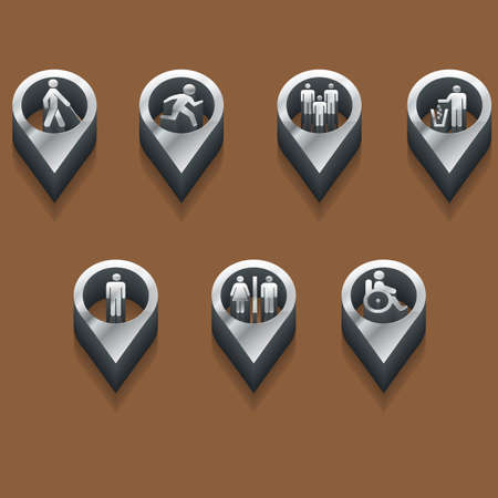 paralyze: black and white peoples icons. isometric styles. Vector
