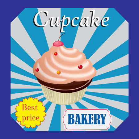 shopfront: Cupcakes  poster design on blue background. Vector poster