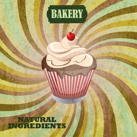 shopfront: Cupcake bakery shop poster. Vintage Retro style