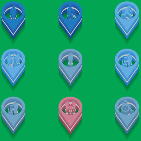 impairment: set of medical icons in isometric style. disabled
